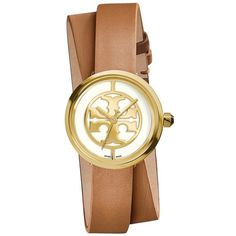 Women's Tory Burch 'Reva' Logo Dial Double Wrap Leather Strap Watch,... (1,050 ILS) ❤ liked on Polyvore featuring jewelry, watches, accessories, wristband watches, art deco watches, art deco jewelry, tory burch jewelry and dial watches