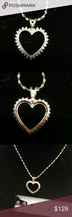 Solid 10k genuine diamond heart pendant! Beautiful diamond heart pendant that's nicely sized! Will accommodate almost any chain! (Chain not included - I offer some chains at 50% off list price when bundled with a pendant!  See my other listings!)  Stamped 10k.   Downsizing My Personal Collection. Offers are welcome. No trades.  Thanks. Jewelry Necklaces