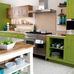 brightly painted kitchens | These classic cabinets can be painted in any colour to order, proving ...