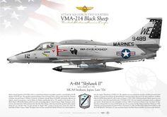 "UNITED STATES MARINE CORPSATTACK SQUADRON TWO FOURTEEN (VMA-214) ""Black Sheep""MCAS Iwakuni, Japan. Late '70s"