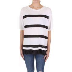 T-shirt με κοντά μανίκια Twinset Mytwin 191MP206C T Shirt, Dimensions, Products, Fashion, White Colors, T Shirts, Budget, Hemline, Cotton