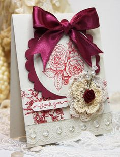 Fantastically pretty floral stamped card. #burgundy #beautiful #card #wedding #roses #flowers #handmade #ribbon #bow #scrapbooking
