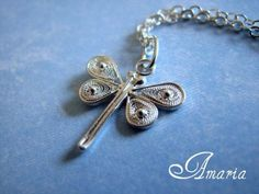 Sterling silver wire wrapped filigree dragonfly necklace.