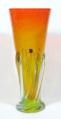 Featured in this auction is a outstanding large Pustetto & Zanetti Arte Nuova Murano orange and uranium green sommerso vase with thick twisting drips. From my research I found that this label was Green Vase, Murano Glass, Barware, Auction, Label, Orange, Amp, Tumbler