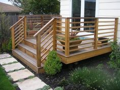 horizontal cedar railing and aluminum railing deck - Google Search