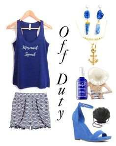 Mermaid Squad all day. Summer time casual outfit. Made on Polyvore. Find the Mermaid Squad tank at Avant Market on Etsy.