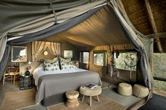 Tanda Tula Safari Camp consists of 12 private, luxury tents. The East African styled tents are the epitome of elegance, comfort and style, mirroring the early tented camps of Africa Luxury Glamping, Luxury Tents, Attic Renovation, Attic Remodel, Camping Con Glamour, Gazebos, Tent Living, Attic Rooms, Attic Playroom