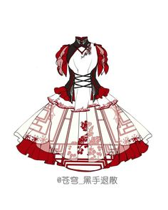 "Chinese lolita ""Passport To World Flavors"" Clothes Draw, Drawing Anime Clothes, Dress Drawing, Anime Outfits, Cool Outfits, Fashion Outfits, Anime Dress, Fashion Design Sketches, Character Outfits"