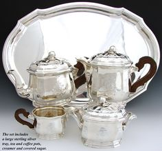 5pc Antique French Sterling Silver Tea & Coffee Service including Tray, 4762gm: Tetard Freres, Paris c. 1903