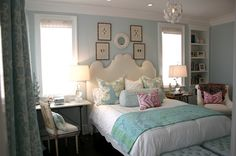sophisticated teenage girl's room--love all the blue with the little pops of pink!