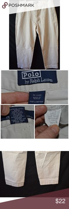 Polo Ralph Lauren Flat Front Khakis Chinos 36x30 Jeans are in great used condition with normal wear on thighs and leg bottoms   Measurements taken laying flat      Waist- 18  Hip- 25  Rise- 11.5  Inseam- 30  Thigh- 13  Leg Opening-9      Item #  11-01 3.0 Polo by Ralph Lauren Pants Chinos & Khakis