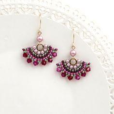 Crystal dangle earrings, Swarovski crystal beaded earrings, Rose earrings gold, Pink and green earrings, Elegant earrings, Fan earrings