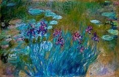 - Claude Monet, Irises and Water-Lilies, 1917,...