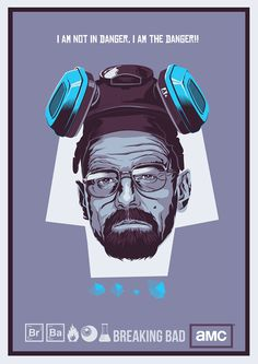 "BREAKING BAD  After watching season 4 of one of the best show ever on TV, the awesome ""Breaking Bad"", i just got so excited and wanted to design something about it. I came up with this print of Walter White, the most famous science teacher/drug dealer!"