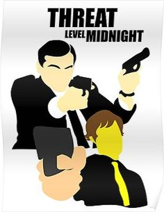 'The Office - Threat Level Midnight' Poster by LydiaHunto Office Canvas, Threat Level Midnight, Office Jokes, The Office Show, Office Wallpaper, Wallpaper Ideas, Office Paint, Office Birthday, Office Parties