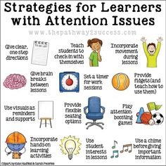 Interventions for Executive Functioning Challenges: Attention Over 20 interventions, strategies, and supports to help teach attention skills to kids and young adults. Being able to focus and pay attention is a requirement for learning! Classroom Behavior, Special Education Classroom, Special Education Activities, Autism Classroom, Future Classroom, Learning Activities, Kids Learning, Matter Activities, Social Skills Activities