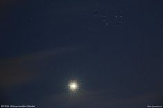 Venus and the Pleiades - April 10th. Just before the clouds got them!!