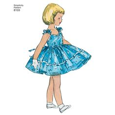 This 1950s vintage dress for Child and Girl features a dress with tied bow in back, with or without pockets, ruffles and tie bows on shoulder, also includes matching jacket. Simplicity sewing pattern.