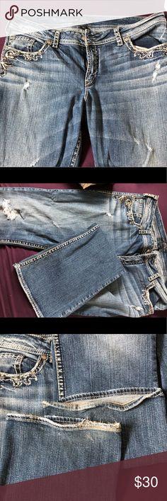 Silver Suki Flap jeans Size 18 Silver Suki flap jeans, minimal fraying on bottom. Barely worn, smoke free home. Silver Jeans Jeans
