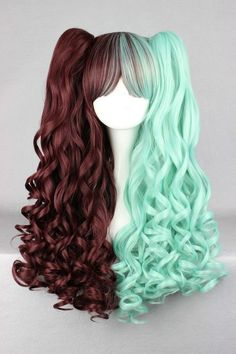 New cosplay Anime long green and green wig lolita wig ponytails,Colorful Candy Colored synthetic Hair Extension Hair piece Kawaii Hairstyles, Pretty Hairstyles, Wig Hairstyles, Cosplay Hair, Cosplay Wigs, Pelo Multicolor, Green Wig, Mint Green Hair, Mint Hair