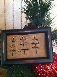 Primitive Sampler~ Primitive Christmas Trees Ornament ~Mini Stitchery