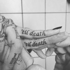 till death wedding tattoo rings  Photo by via Inked Weddings http://www.inkedweddings.com/25-ideas-for-wedding-ring-tattoos/