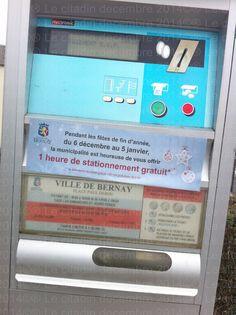 1 heure de stationnement offert à Bernay pour les fêtes de fin d'année, c'est bien non ?