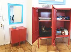 """Front Entrance - 2 Ikea Lixhult Cabinets turned into toy & kid's art supply storage with """"landing strip"""" for keys above - Mirror is from Home Goods, repainted blue Art Supplies Storage, Front Entrances, Playroom Decor, Displaying Collections, Locker Storage, Home Goods, Ikea, Entryway, Landing Strip"""