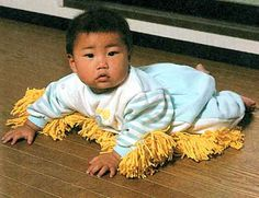 """Sewing dusting pads on your baby's PJs?  """"Oh Jr, you missed a spot..."""""""