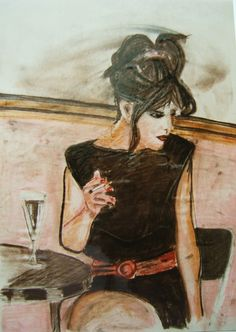 juergen freitag , in der bar pastelkreide auf papier 40 x 60