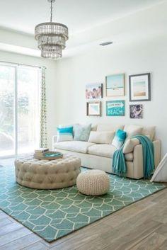 Novel Small Living Room Design and Decor Ideas that Aren't Cramped - Di Home Design Beach Living Room, Coastal Living Rooms, Cozy Living, Bedroom Beach, Living Spaces, Bedroom Rustic, Simple Living, Home Design, Interior Design