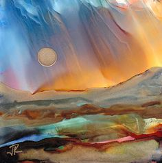 alcohol ink scenery