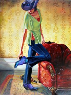 "Jill Pankey, Moving on. Oil canvas. 48"" x 36"". Russell Collection"
