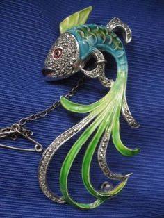 Vintage enamel fish brooch 1950 green blue with marcasite unusual