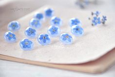Set of Botanical Buttons. Pearlescent floral Handmade button with real forget-me-not flowers. Blue sewing buttons. For knitting by OneFlowerStory on Etsy