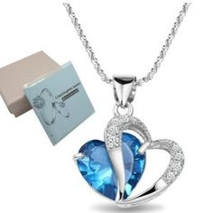 "Wedding gift: Chaomingzhen Charm 925 Sterling Silver Diamond Accent Amethyst Blue Double Heart Shape Pendant Necklace for Women Fashion Jewelry for Girlfriend with 18"" Chain"