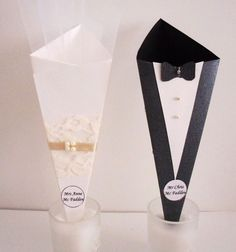 Bridal Shower or Engagement Favor, Paper Cone Favor, Candy Cone, Confetti Cone Set of 20 (bride and groom). $25.00, via Etsy.