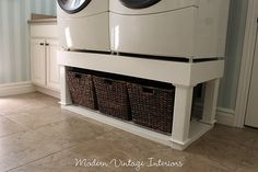laundry organizer tutorial and sketches.  Base for front load washer and dryer.