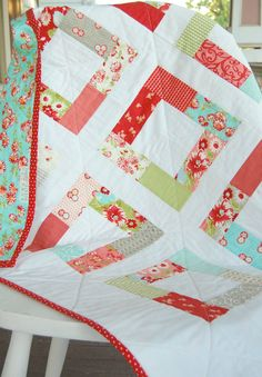 Ruby Baby Quilt -  Patchwork Quilt - Baby Blanket - Modern Baby Quilt - Quilted Blanket - Moda Ruby. $100.00, via Etsy.