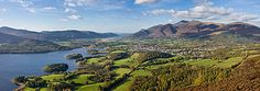 Lake District, North West England (The Skiddaw massif, town of Keswick and Derwent Water seen from Walla Crag)