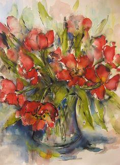 Tulpen in vaas II aquarel en inkt op papier