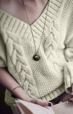 V-Neck Crop Cable Jumper by AucciCotton on Etsy Sweater Knitting Patterns, Knit Patterns, Cotton Sweater, Cable Knit Sweaters, Oversized Fashion, Autumn Jumpers, Pullover Outfit, Crochet Cable, Green Sweater