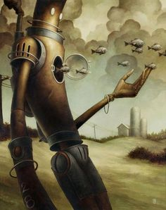 """The Escape"" - Brian Despain, oil on wood panel {contemporary fantasy artist robot painting} Diesel Punk, Matt Dixon, Cyberpunk, Illustrations, Illustration Art, Steampunk, Vintage Robots, Retro Robot, Arte Robot"