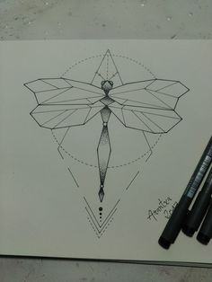 Dragonfly dot puntillismo libélula. Diseño tattoo. Geometric tattoo