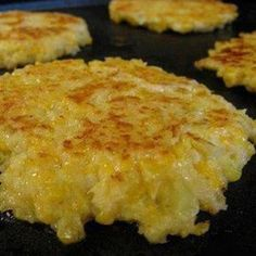 cheesy cauliflower patties Recipe | Just A Pinch Recipes....substitute crushed pork rinds for panko bread crumbs