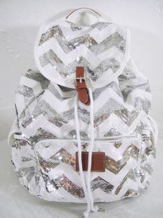 Cute sparkly silver and white chevron backpack!