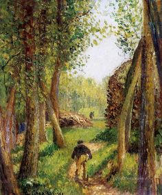 """Camille Pissarro (1830-1903) ~ """"Forest Scene with Two Figures"""""""