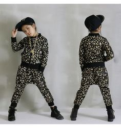 Gold silver printed cotton long sleeves girls boys children modern dance stage performance school play jazz hip hop dance outfits for kids