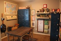 Homeschool or just a dedicated study space away from other distractions. Re-purpose lockers & file cabs and pick up old fashioned desk/chair combos.  I see them all at yard sales & thrift stores all the time!