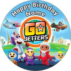 EDIBLE Go Jetters Cake Topper personalized WAFER birthday party 19cm